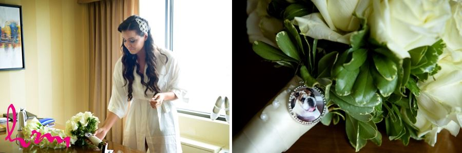 Bridal bouquet with picture of dog