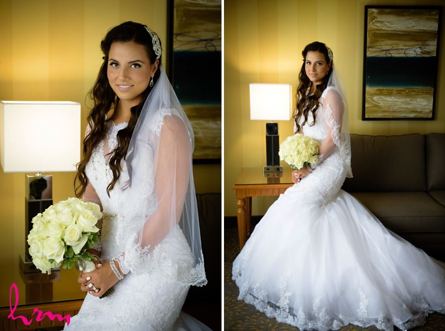 Bridal gown sheer sleeves with lace veil