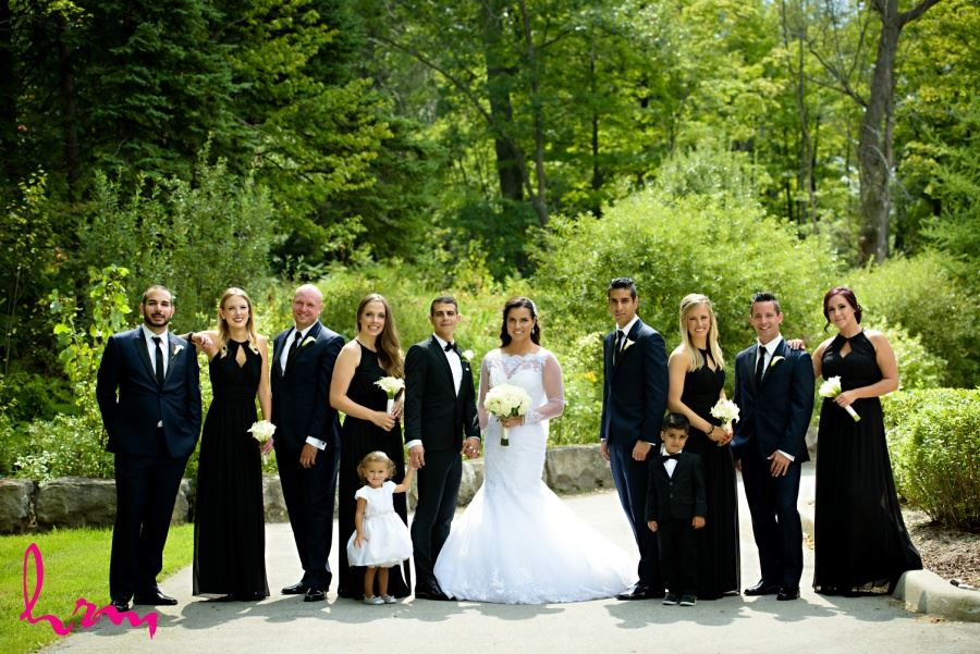 Wedding party in black and white at Springbank Park london ontario