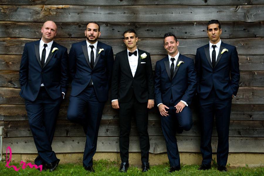 Groomsmen in black ties