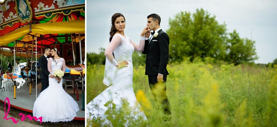 bride and groom on merry go round springbank park london ontario
