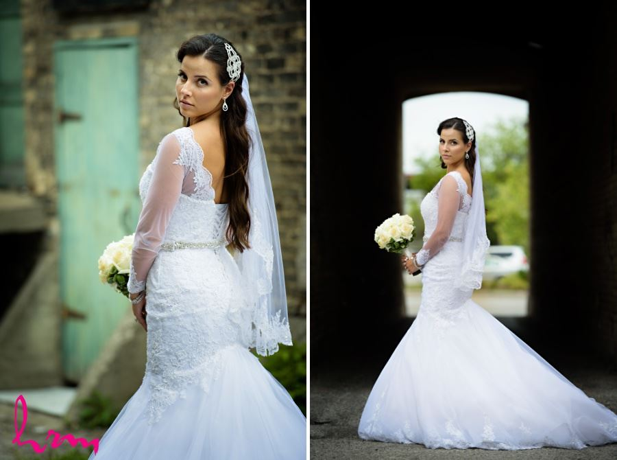bridal portrait in front of brick building london ontario