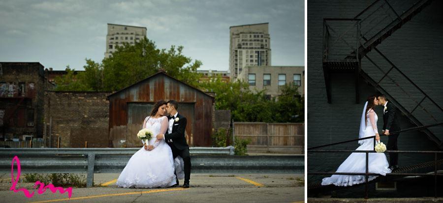 bride and groom urban wedding day photography