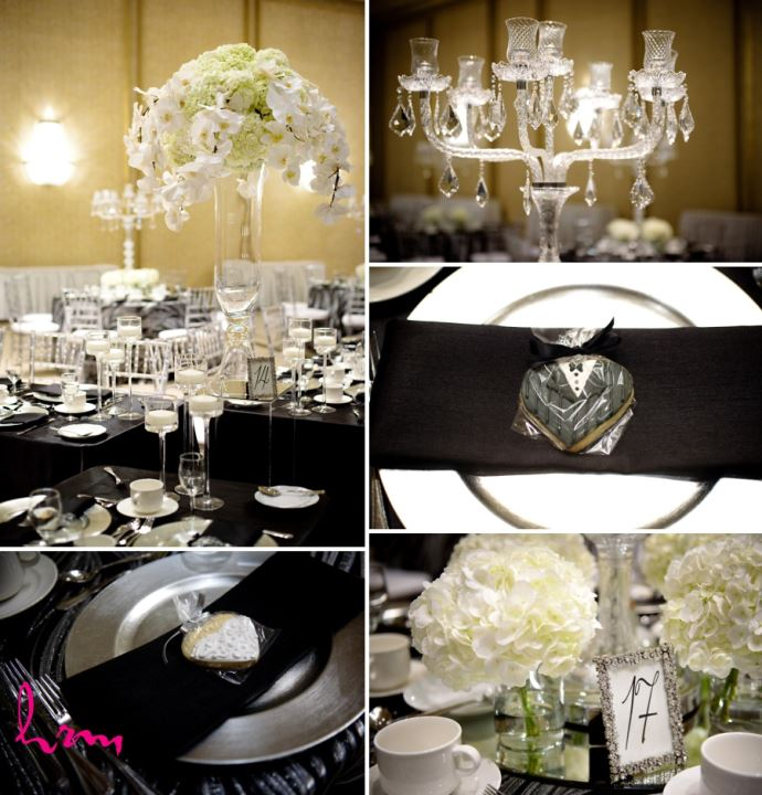 glamorous wedding reception decor orchids and hydrangea