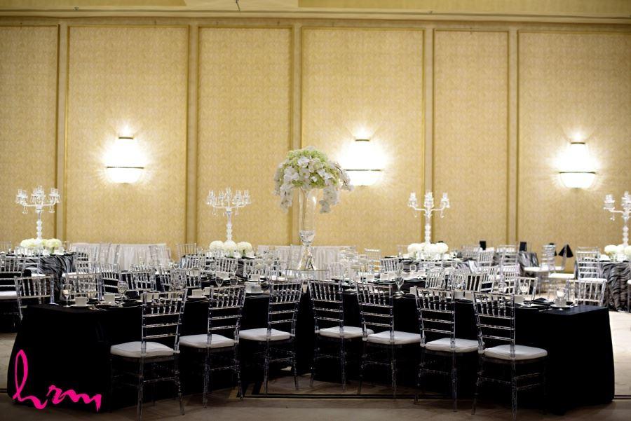 black tablecloths wedding reception decor