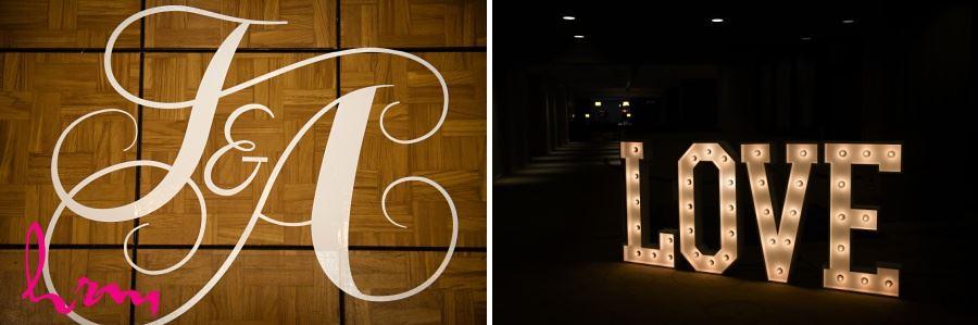 Monogrammed dancefloor wedding reception and love marquis lights sign