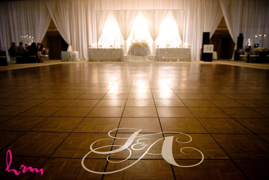 Monogrammed dancefloor wedding reception