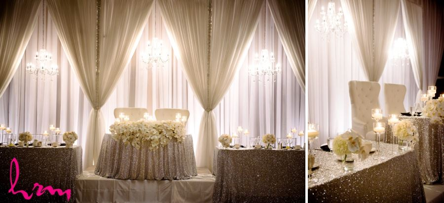 luxe wedding decor head table sweetheart table rose gold sequin table cloth