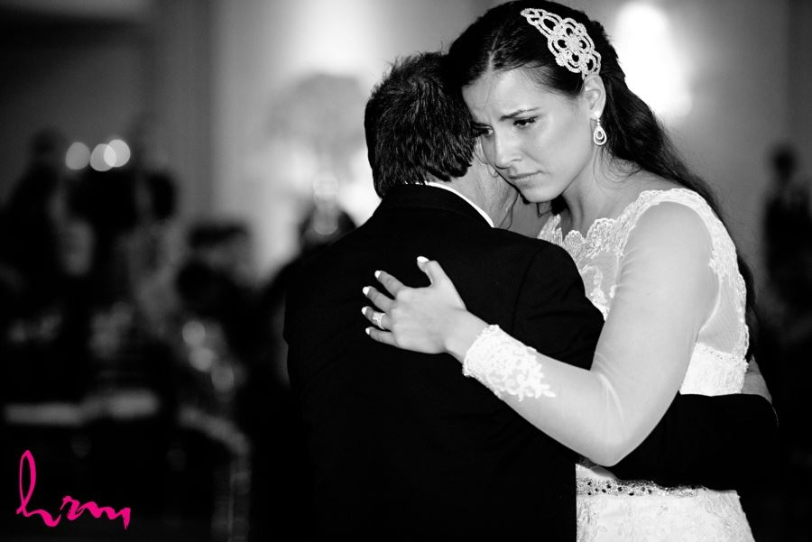 father daughter dance in black and white