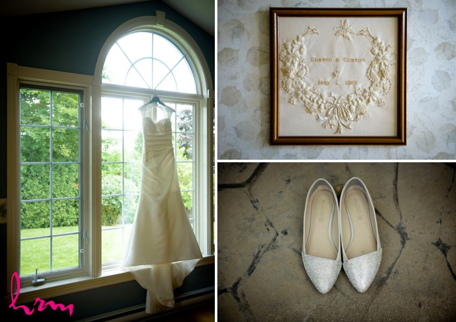 framed embroidered handkerchief wedding day heirloom
