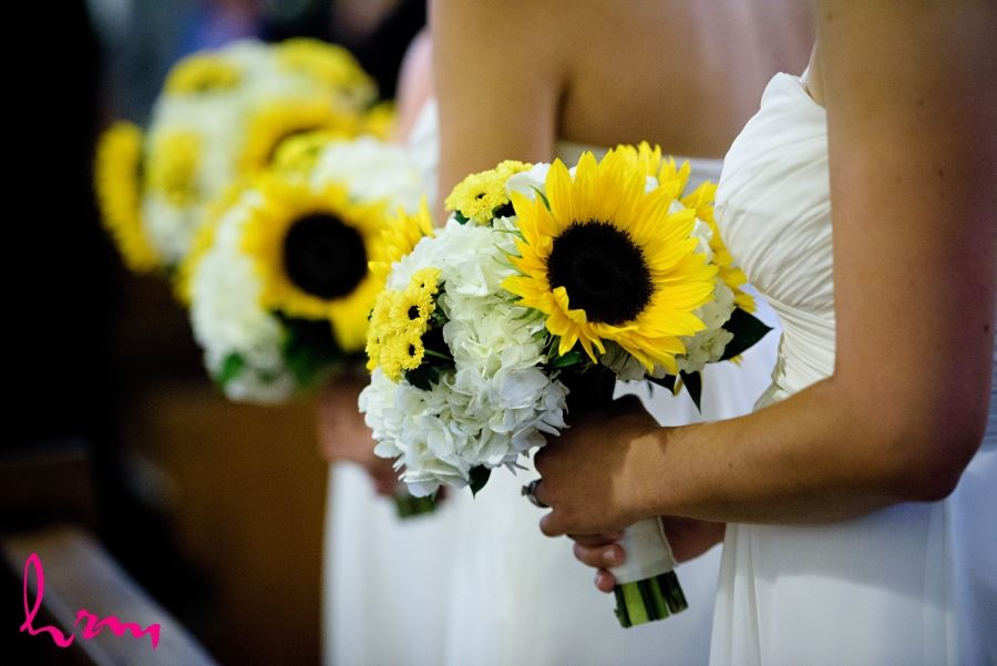 bridesmaid bouquets with sunflowers and hydrangea