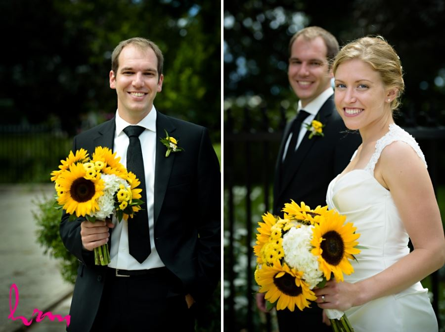 groom holding sunflower bridal bouquet