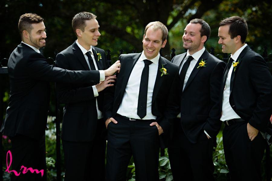 groomsmen yellow boutineers