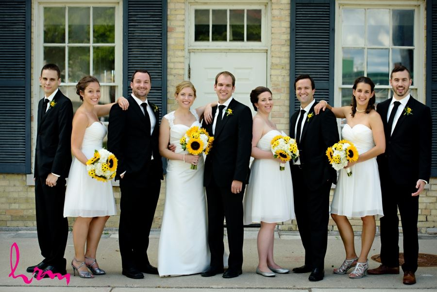 wedding party black white and yellow