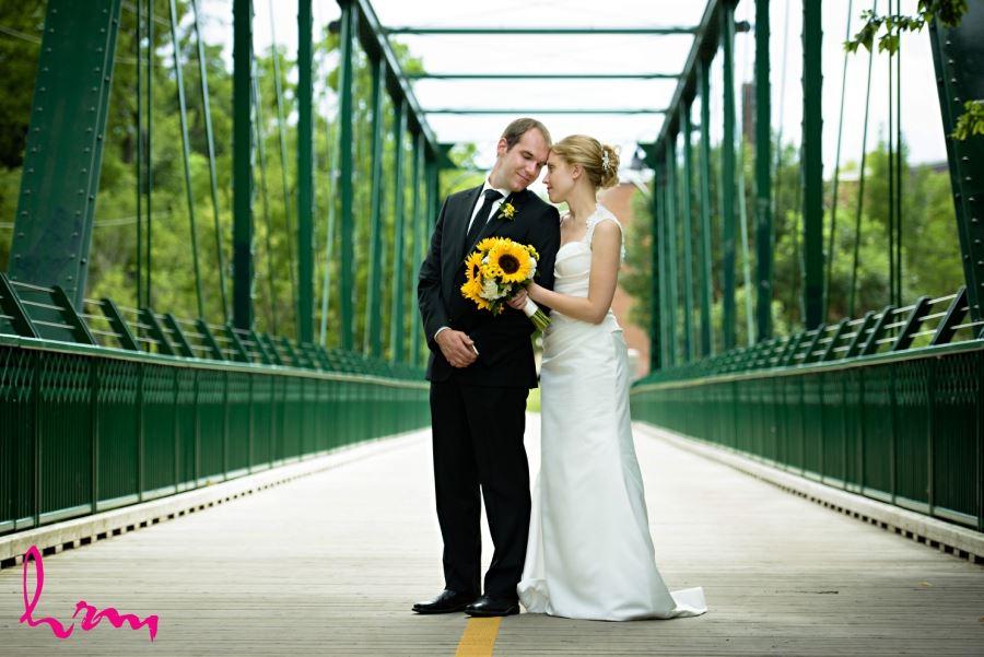 bride and groom on green bridge downtown London ontario