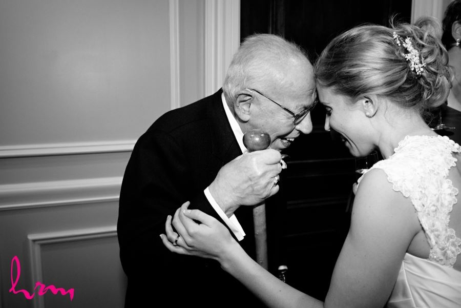bride with grandfather black and white