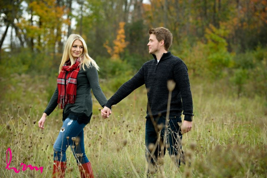 Fall Engagement Session red rubber boots and red scarf