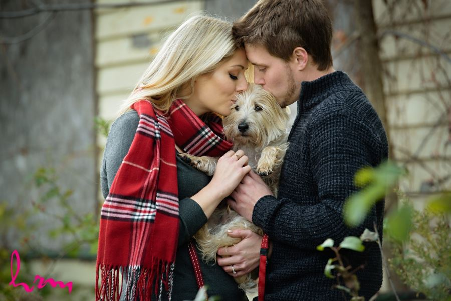 Cute fall engagement session with small dog
