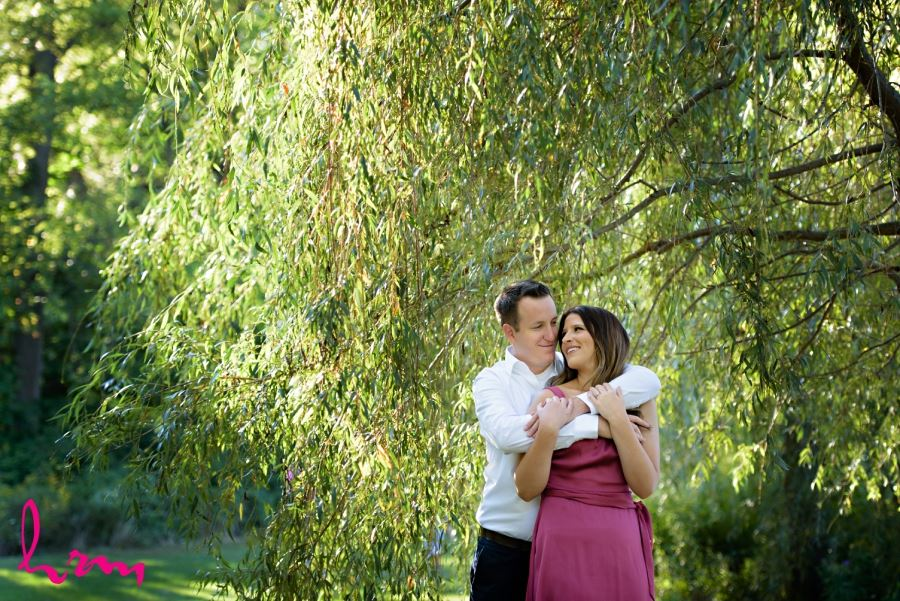 engagement session couple under big willow tree