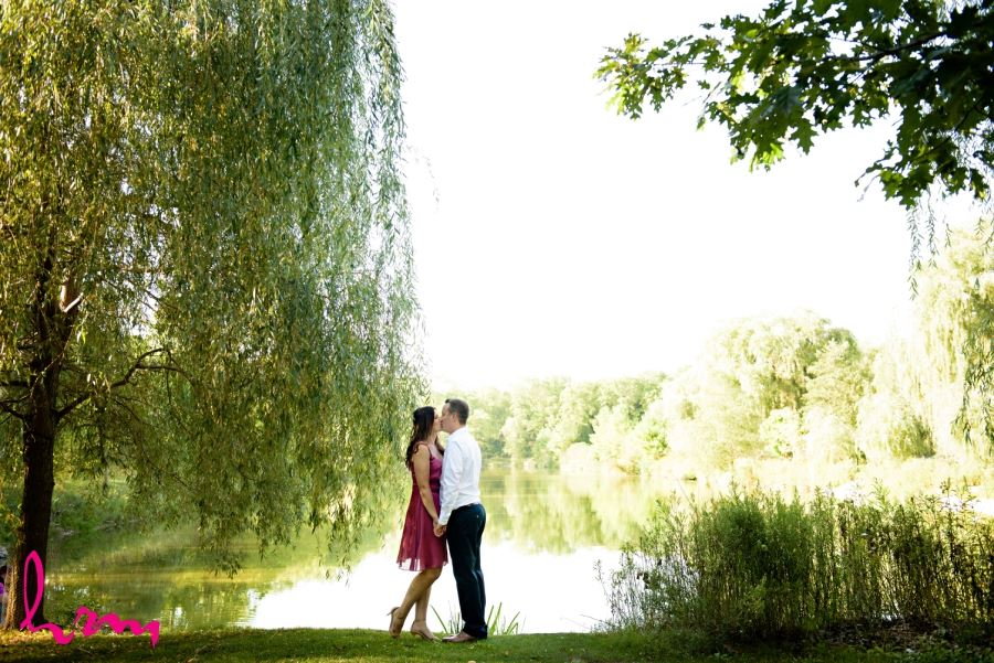 engagement in front of water