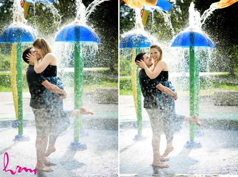 fun engagement session location ideas splashpad sprinkler water