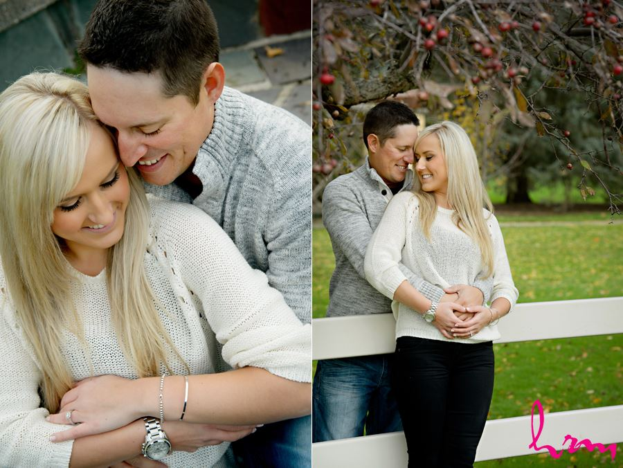 Cute engagement session in front of cherry blossom tree