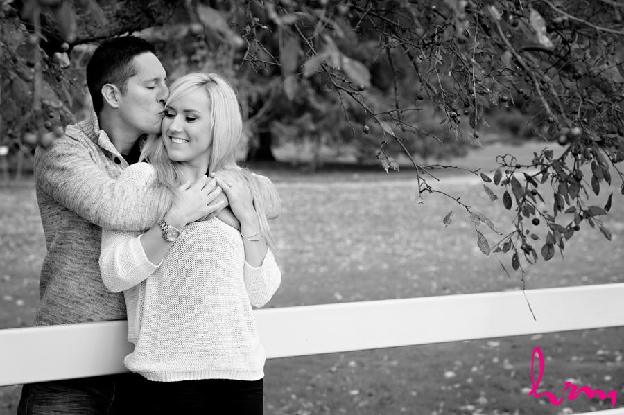 Black and white photo of engaged couple in London Ontario