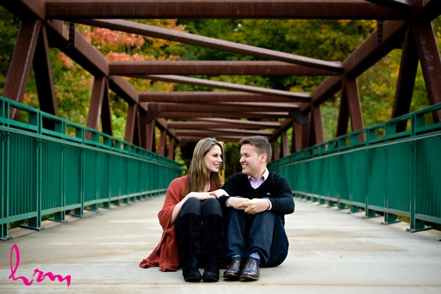 fall engagement session london ontario pedestrian bridge