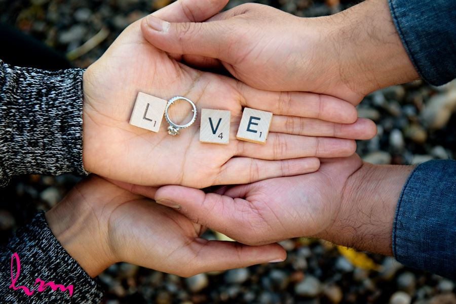 engagement session idea scrabble letters and ring spelling LOVE