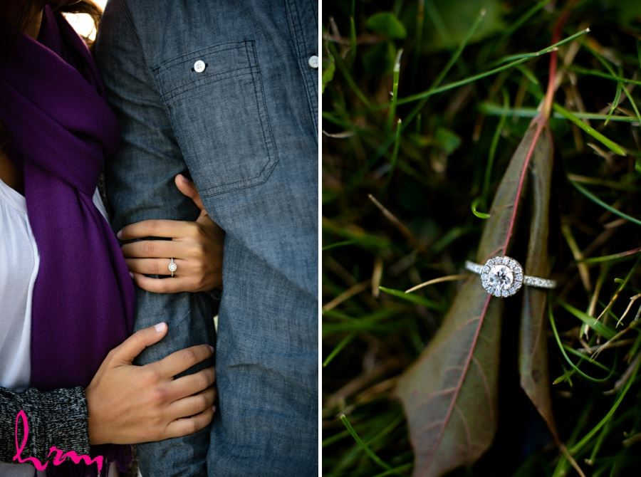 engagement session photography close up of ring on leaf