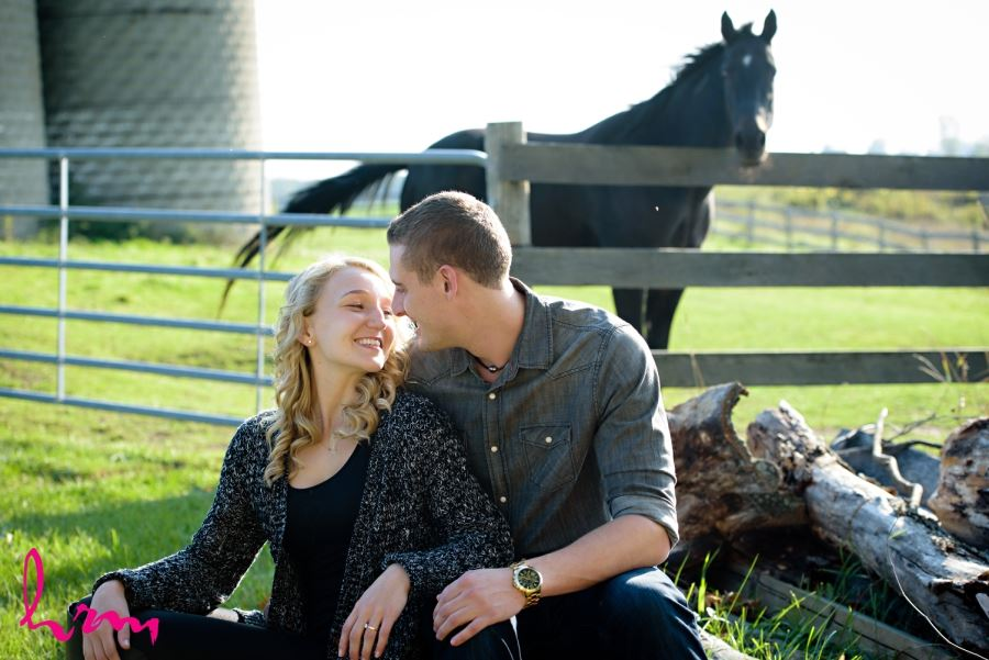 engagement session on farm with horse