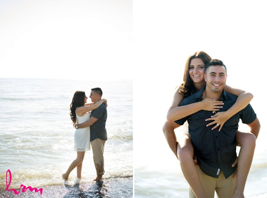 beach engagement session photos couple in water