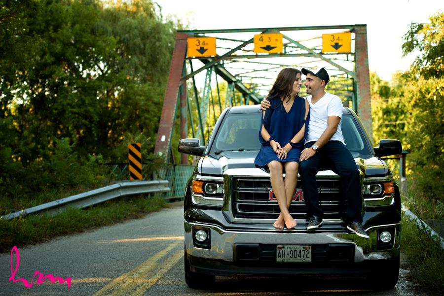 engagement session sitting on truck