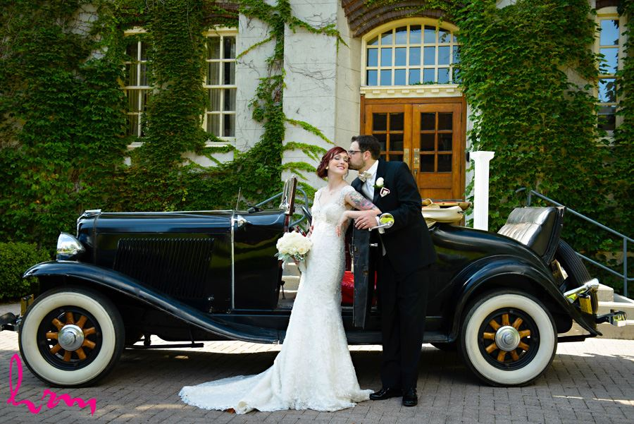 bride and groom vintage car old courthouse wedding london ontario