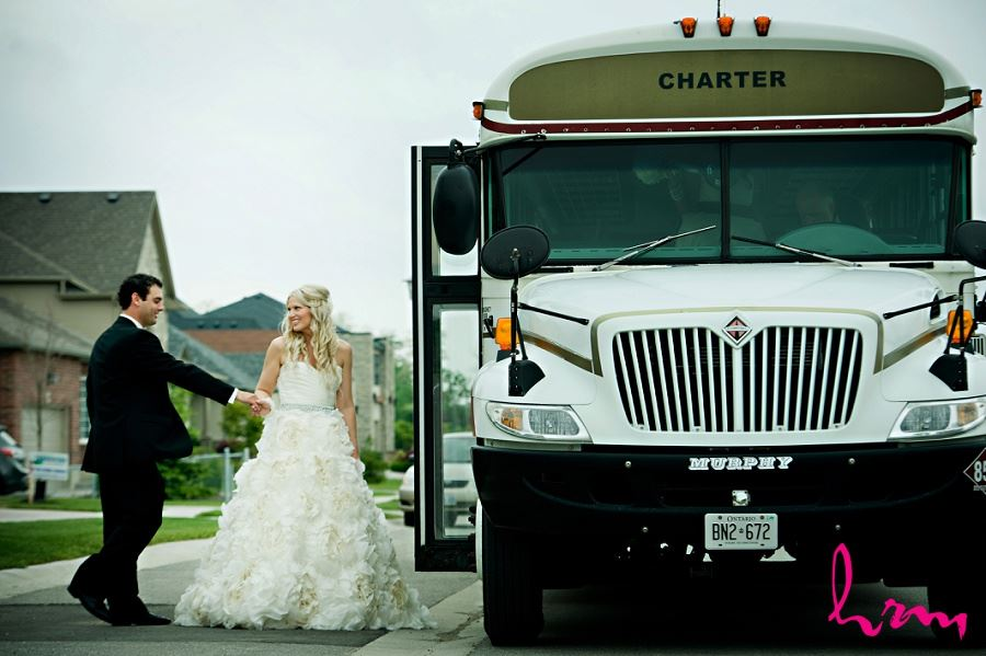 Wedding photography London Ontario wedding bus