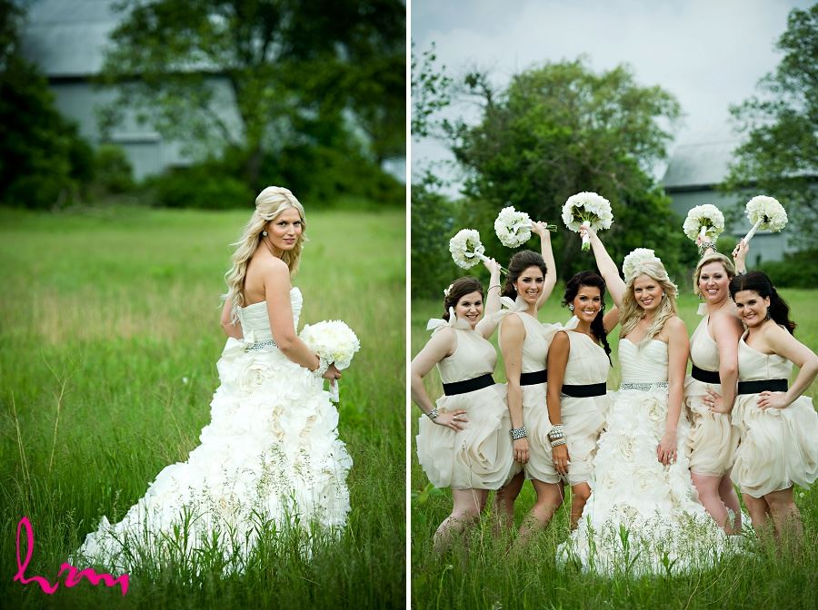 Wedding photography bridge and bridesmaids in field