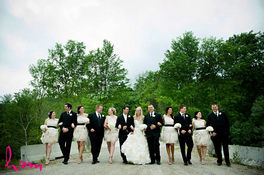 Wedding party walking arm in arm in wedding photo