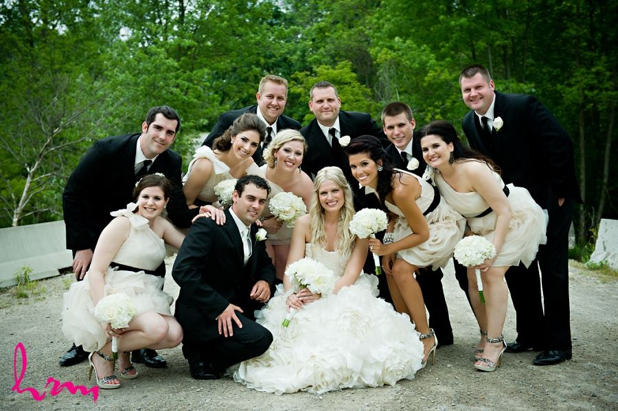 Group shot of wedding party by London Ontario wedding photographer