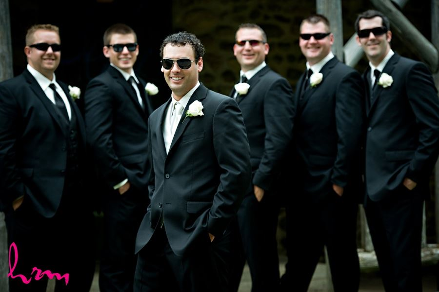 Groomsmen in sunglasses taken by London Ontario wedding photographer