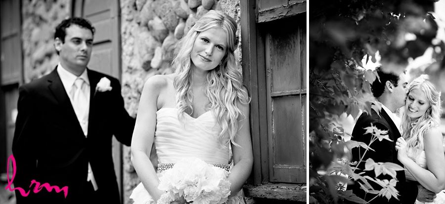 Black and white Wedding photograph of bride and groom in rustic setting