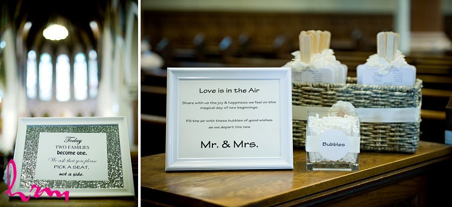 Wedding photo of welcoming signs