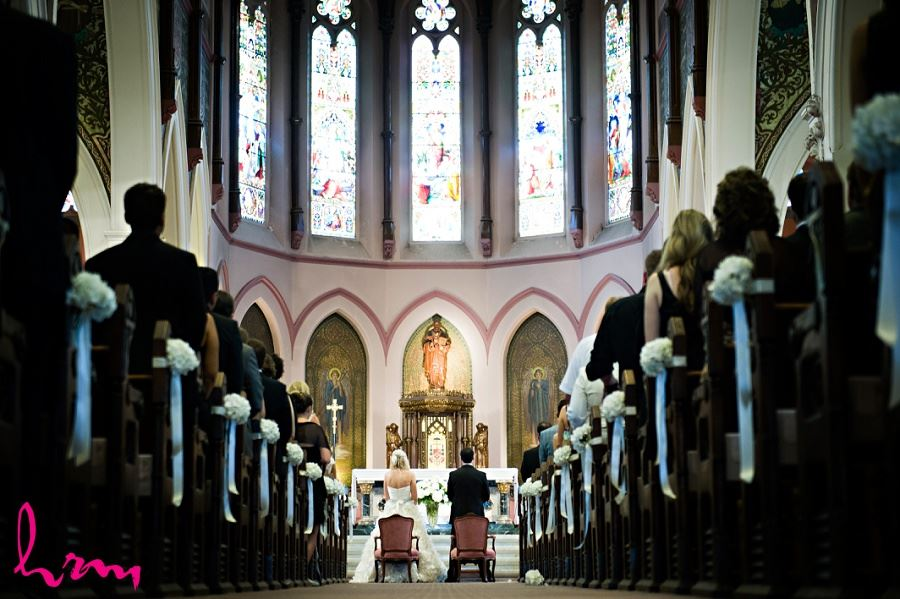 Bride and groom at altar taken by London wedding photographer