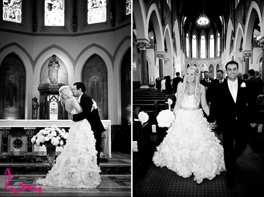 Black and white wedding photos of bride and groom walking down aisle