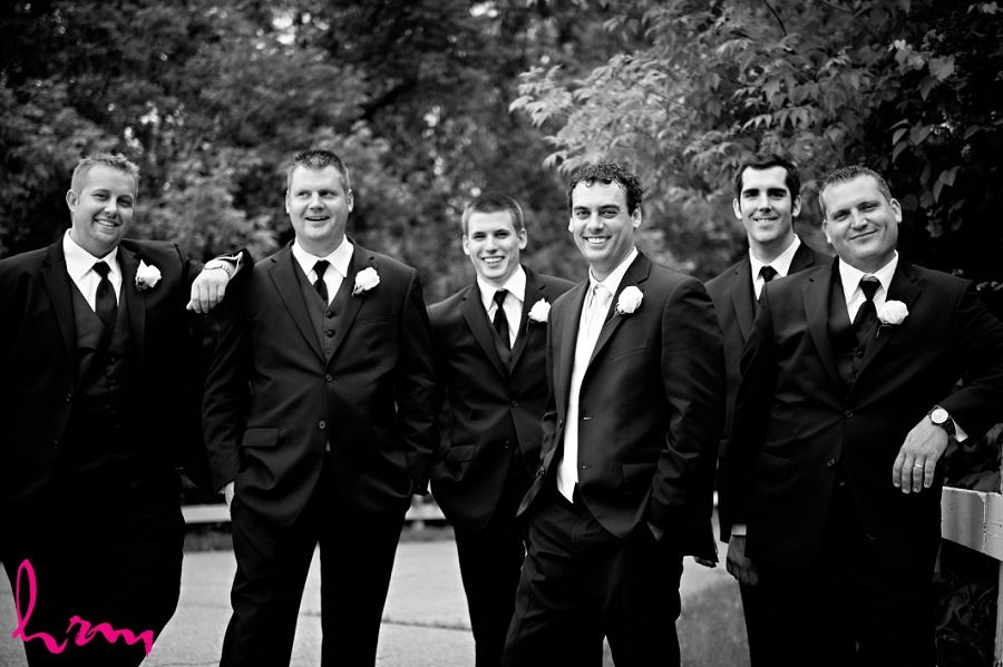 Black and white picture of groomsmen taken by London Ontario wedding photographer