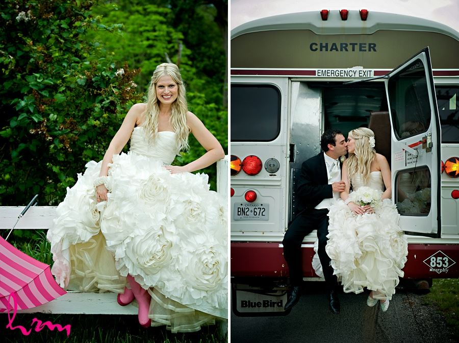 Wedding photo of bride and groom on bus