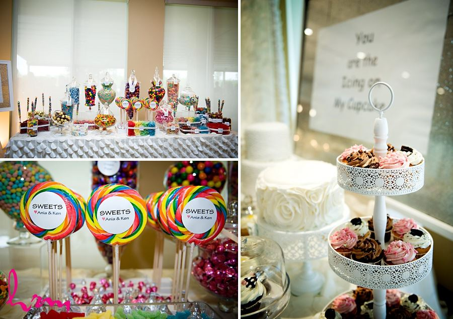 Wedding photographs of sweets table taken by London Ontario wedding photographer