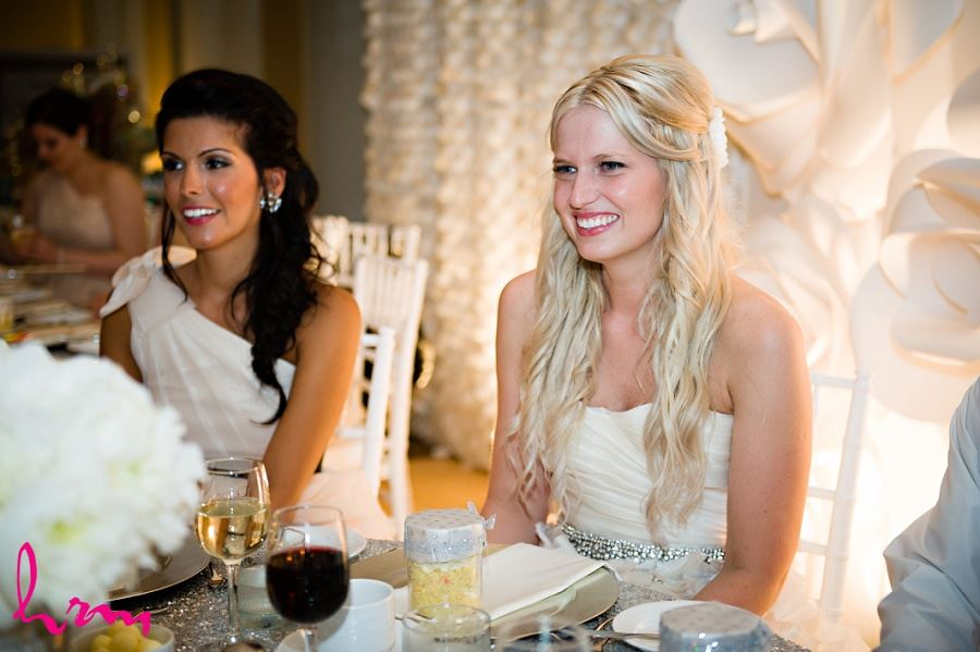 Photo of bride and bridesmaid enjoying the reception taken by London Ontario wedding photographer