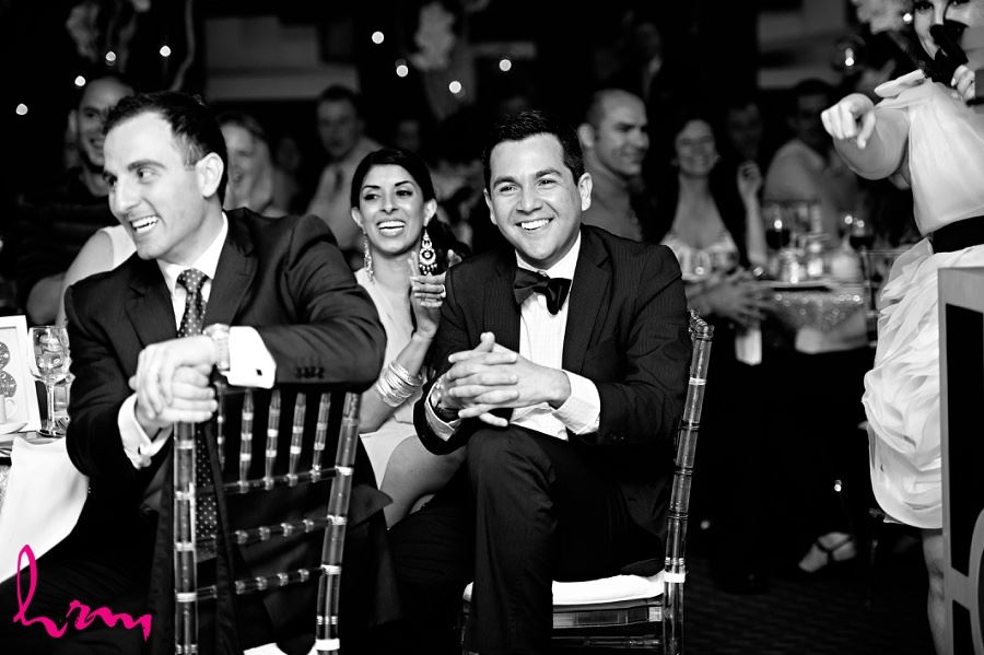 Black and whitie photo of wedding guests taken by London Ontario wedding photographer