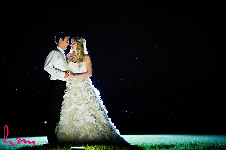 Nighttime photo of bride and groom taken by London Ontario Wedding Photographer