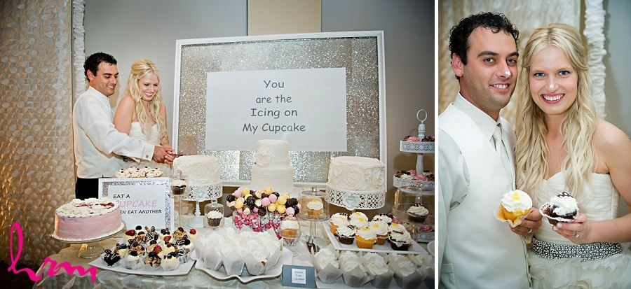 Cupcake table at wedding of Ken and Ania